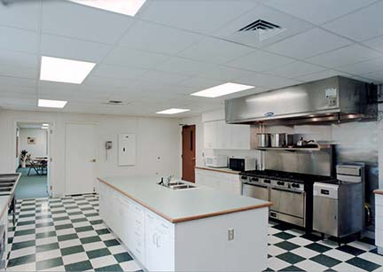 The 37,500-square-foot  commercial kitchen at Hope Baptist Church in  Toledo, OH, includes a three-compartment sink, ansul hood and gas ranges.