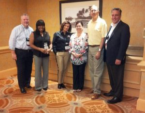 From left to right: Randy Marsh (ECCU); Sali Wiliams (Church Executive Magazine); Therese DeGroot (First Bank); Tammy Bunting (AcctTwo); James R. Cook (MMBB); Dan Mikes (Bank of the West)