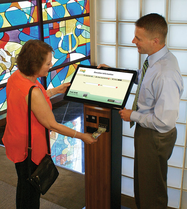 Some giving kiosks — such as inLighten's iGIVE model, above — offer an expanded set of utilities, such as allowing onscreen messaging when the kiosk is in idle mode, providing access to the church website, or enabling registration for events such as speakers series, special music events or mission trips.