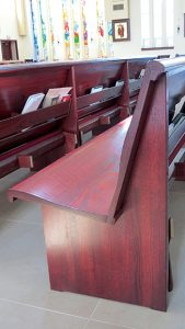 Sauder Worship Seating solid pew body with contour seat and back