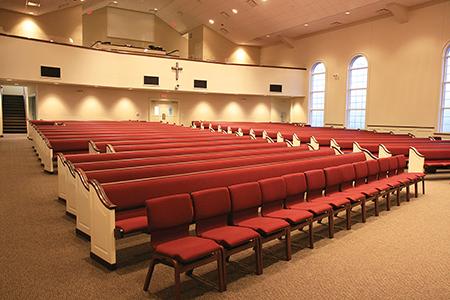 Sauder Worship Seating upholstered ergonomic pew with Vantage chairs