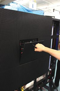 Combining front and rear access with service-friendly features — such as magnetic attachment of the modules — allows extremely tight pixel pitches to have the same front access that makes maintenance convenient for technicians. This easy access enables techs to quickly replace faulty components without powering down the display.