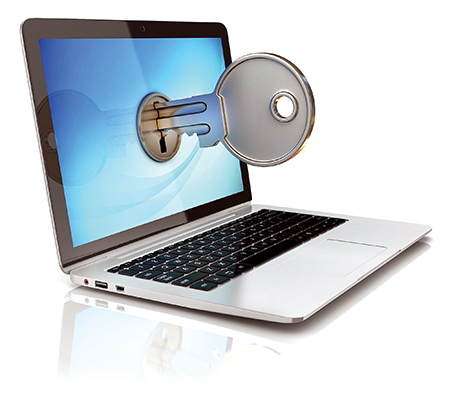 laptop with key