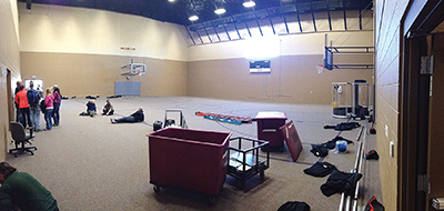 BEFORE : A community center gym converted to a video venue multisite church