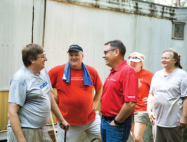 "Once a year, Highlands hosts ""Serve Day,"" which draws thousands of people across Alabama to spend a day serving others right in their own communities. Hodges visits many of the projects where he gets to connect with people and share God's love."