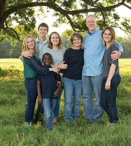 Executive Pastor Lance Taylor and his family — from left to right: Reese (15); Sawyer (17); Zac (11, who was adopted from Haiti in 2013); Bailey (21); wife Wendy; and McKenna (19)