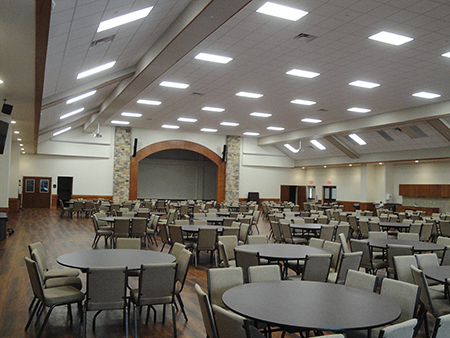 Completed last April, Our Lady Queen of Peace added a 20,000-square-foot parish hall using a non-traditional building approach from Varco Pruden. Leaders prioritized aesthetic consistency with the existing facility.