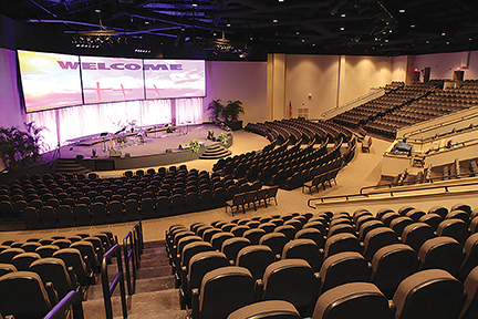 Life Church in Laurel, MS, used clear-span frames without interior columns to open views and seating in this sanctuary.