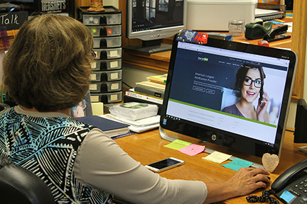 Verlee McCracken, Office Secretary at Hyde Wesleyan Church, is well-versed in using notification technology — the church uses it three to four times a week.