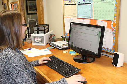 Hyde Wesleyan Church was able to move its prayer team contact information from its outdated phone tree device — and export its entire church database — to build a new database in One Call Now. (Shown: Hannah Jury, Administrative Assistant)