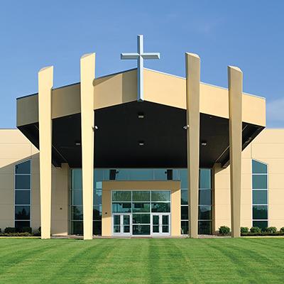 Symmetrical entrance to a modern Christian church