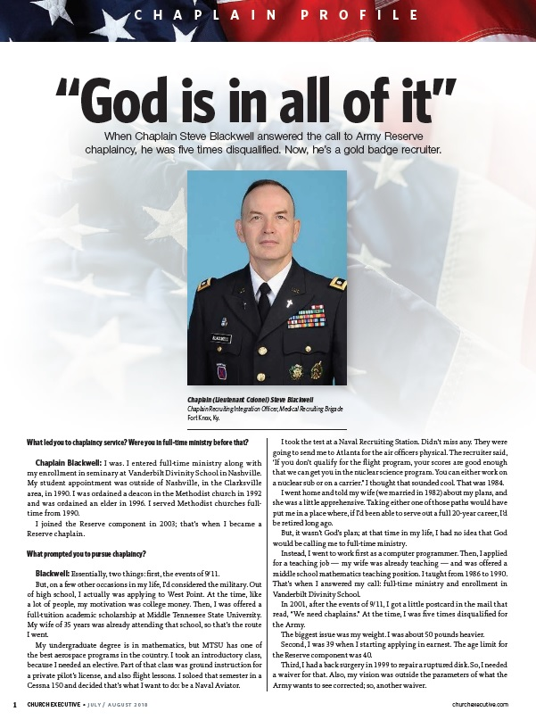 """CHAPLAIN PROFILE: """"God is in all of it"""""""