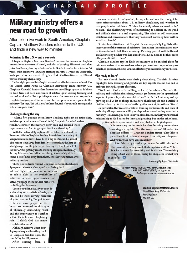 CHAPLAIN PROFILE: Military ministry offers a new road to growth