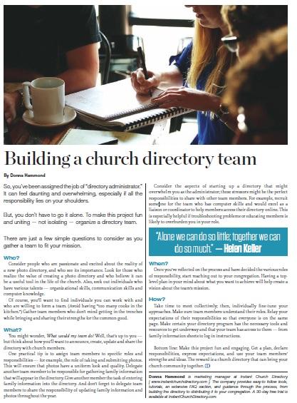 BUILDING A CHURCH DIRECTORY TEAM